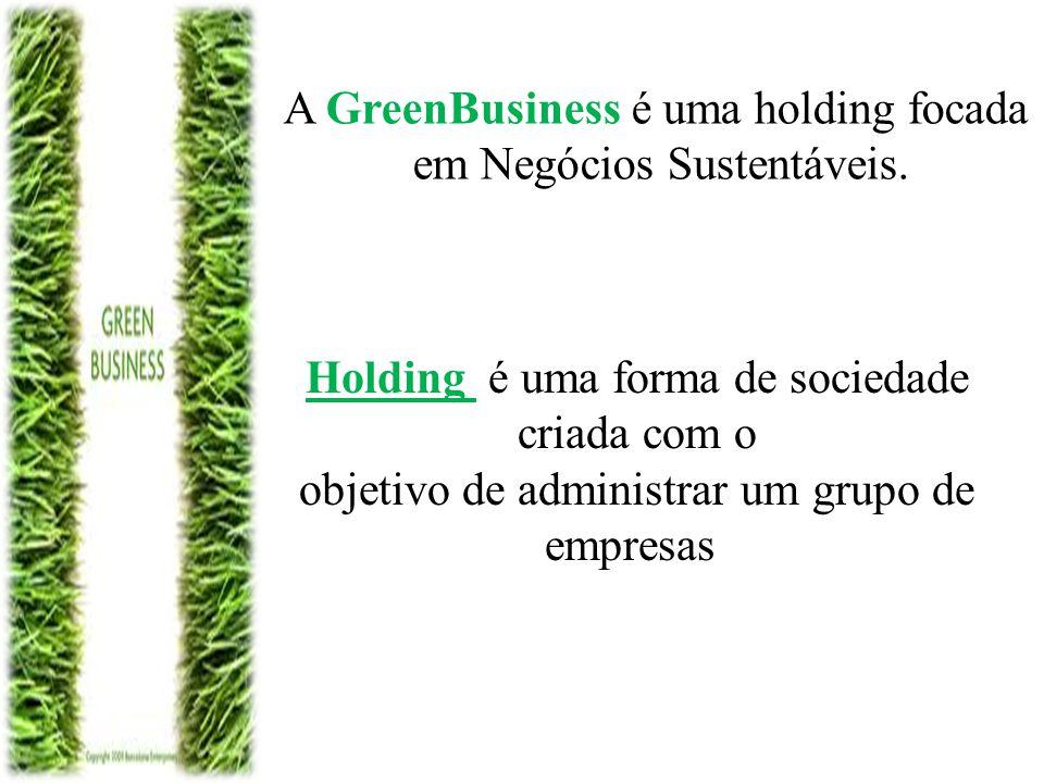 A GreenBusiness é uma holding focada em Negócios Sustentáveis. Holding é uma forma de sociedade criada com o objetivo de administrar um grupo de empre