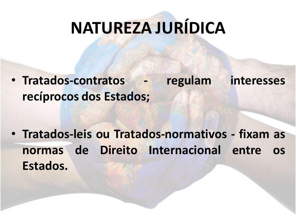 NATUREZA JURÍDICA Tratados-contratos - regulam interesses recíprocos dos Estados; Tratados-leis ou Tratados-normativos - fixam as normas de Direito In