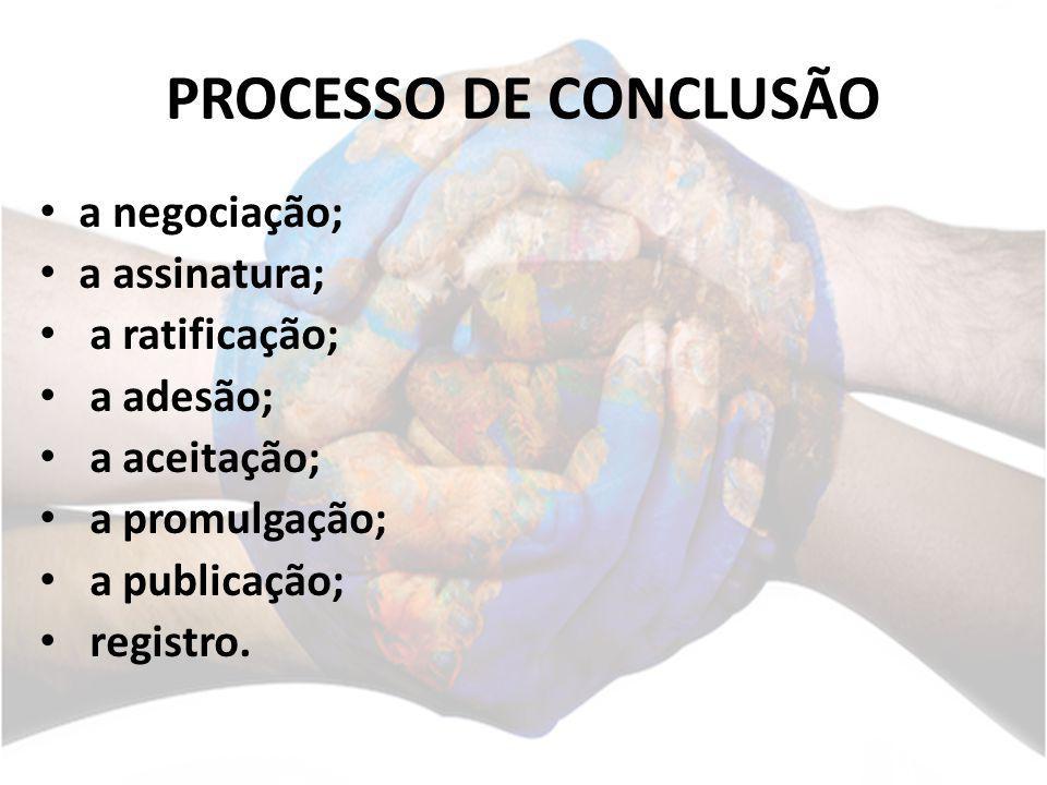 PROCESSO DE CONCLUSÃO a negociação; a assinatura; a ratificação; a adesão; a aceitação; a promulgação; a publicação; registro.
