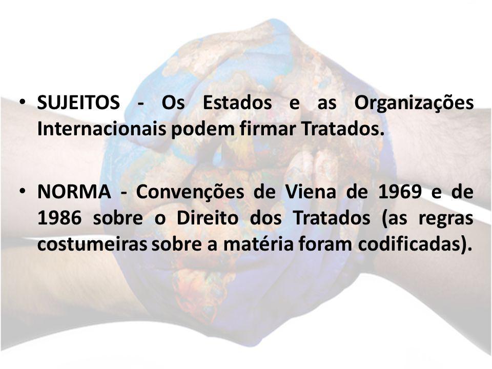 SUJEITOS - Os Estados e as Organizações Internacionais podem firmar Tratados. NORMA - Convenções de Viena de 1969 e de 1986 sobre o Direito dos Tratad