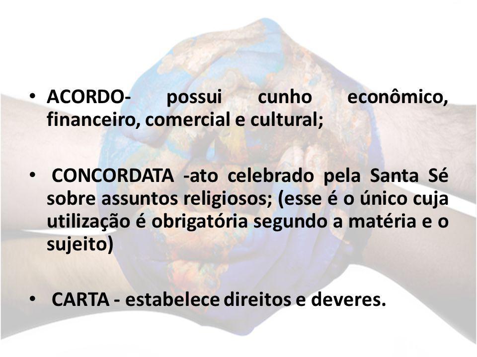 ACORDO- possui cunho econômico, financeiro, comercial e cultural; CONCORDATA -ato celebrado pela Santa Sé sobre assuntos religiosos; (esse é o único c