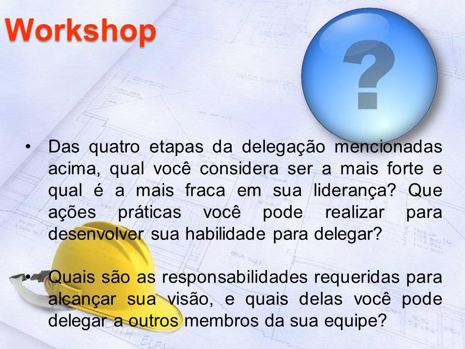 Workshop Das quatro etapas da delegação mencionadas acima, qual você considera ser a mais forte e qual é a mais fraca em sua liderança? Que ações prát