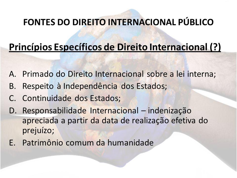 FONTES DO DIREITO INTERNACIONAL PÚBLICO Princípios Específicos de Direito Internacional (?) A.Primado do Direito Internacional sobre a lei interna; B.