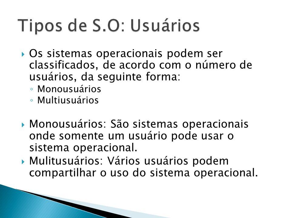 Os sistemas operacionais podem ser classificados, de acordo com o número de usuários, da seguinte forma: Monousuários Multiusuários Monousuários: São sistemas operacionais onde somente um usuário pode usar o sistema operacional.