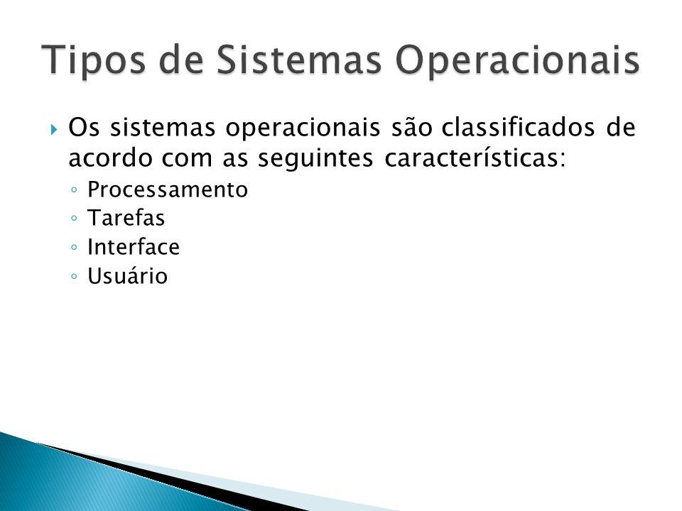 Os sistemas operacionais são classificados de acordo com as seguintes características: Processamento Tarefas Interface Usuário