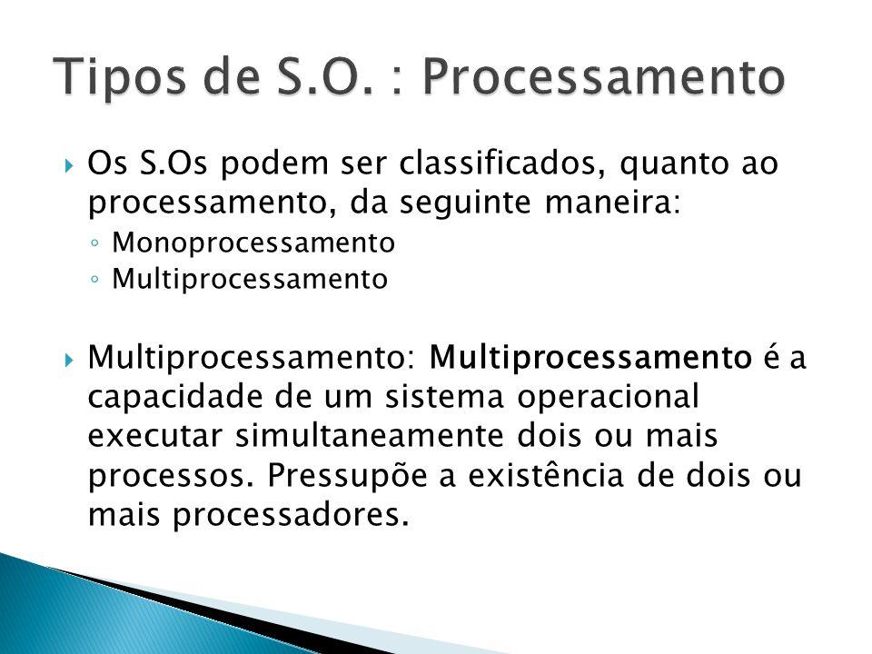 Os S.Os podem ser classificados, quanto ao processamento, da seguinte maneira: Monoprocessamento Multiprocessamento Multiprocessamento: Multiprocessam