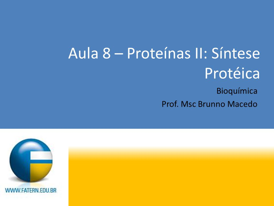 Aula 8 – Proteínas II: Síntese Protéica Bioquímica Prof. Msc Brunno Macedo
