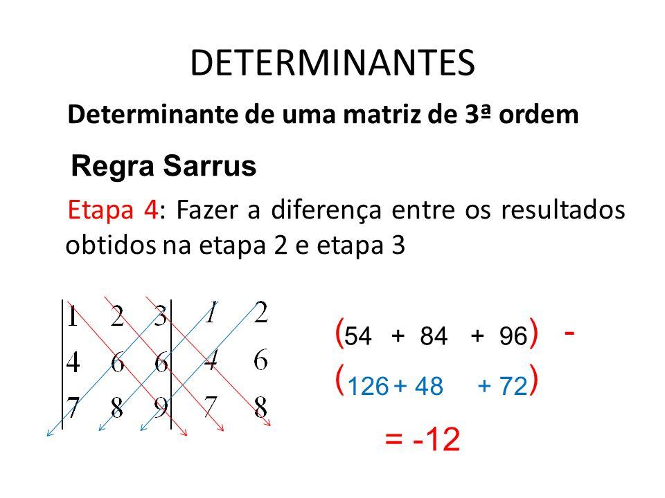 DETERMINANTES Determinante de uma matriz de 3ª ordem Regra Sarrus Etapa 4: Fazer a diferença entre os resultados obtidos na etapa 2 e etapa 3 54+ 84+