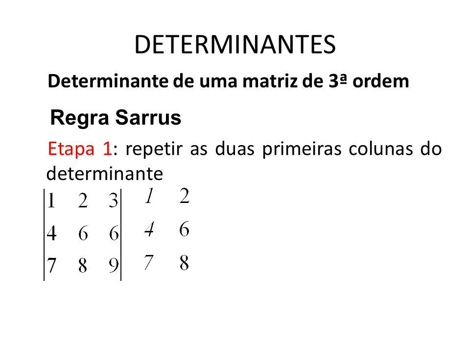 DETERMINANTES Determinante de uma matriz de 3ª ordem Regra Sarrus Etapa 1: repetir as duas primeiras colunas do determinante