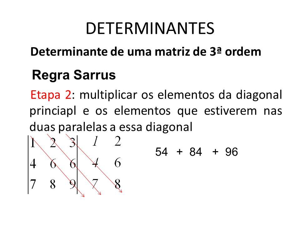 DETERMINANTES Determinante de uma matriz de 3ª ordem Regra Sarrus Etapa 2: multiplicar os elementos da diagonal princiapl e os elementos que estiverem
