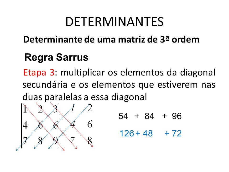 DETERMINANTES Determinante de uma matriz de 3ª ordem Regra Sarrus Etapa 3: multiplicar os elementos da diagonal secundária e os elementos que estivere