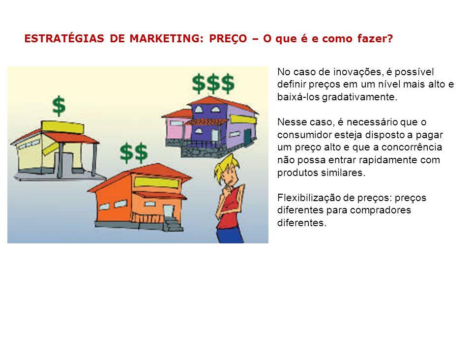 ESTRATÉGIAS DE MARKETING: PREÇO – O que é e como fazer? No caso de inovações, é possível definir preços em um nível mais alto e baixá-los gradativamen