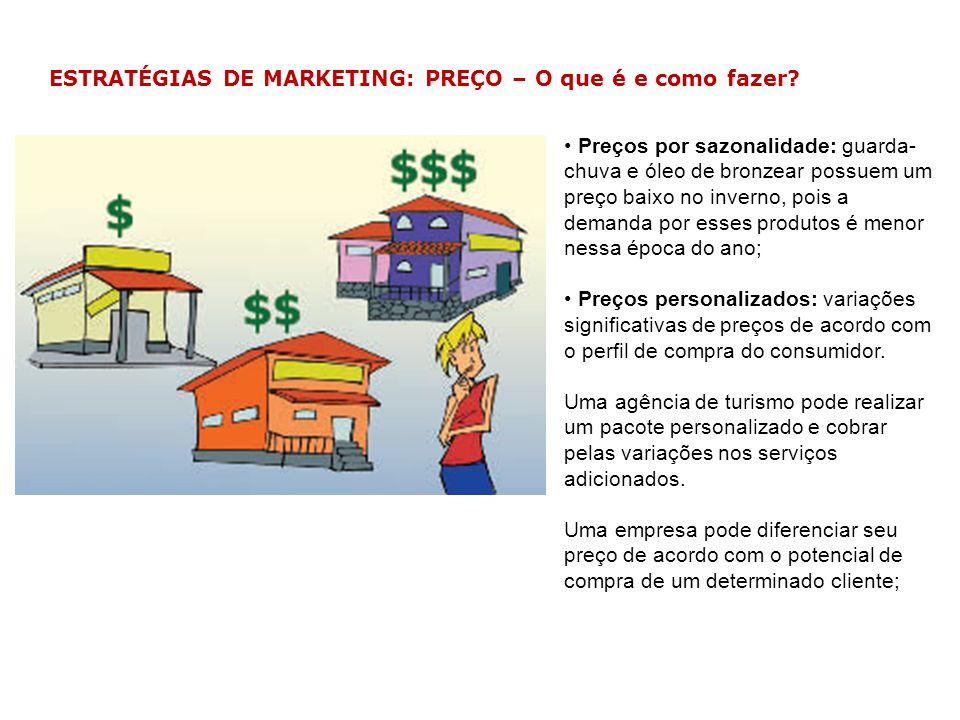 ESTRATÉGIAS DE MARKETING: PREÇO – O que é e como fazer? Preços por sazonalidade: guarda- chuva e óleo de bronzear possuem um preço baixo no inverno, p