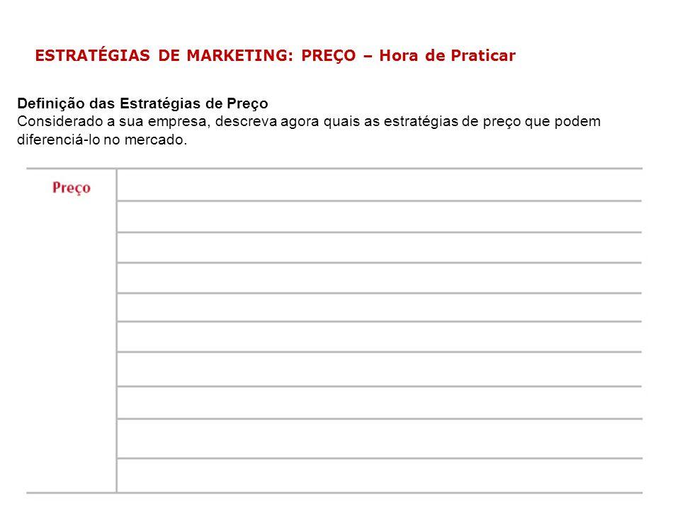 ESTRATÉGIAS DE MARKETING: PREÇO – Hora de Praticar Definição das Estratégias de Preço Considerado a sua empresa, descreva agora quais as estratégias d
