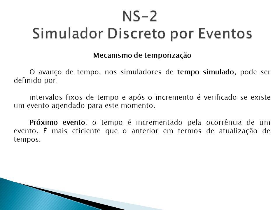 Mecanismo de temporização O avanço de tempo, nos simuladores de tempo simulado, pode ser definido por: intervalos fixos de tempo e após o incremento é verificado se existe um evento agendado para este momento.