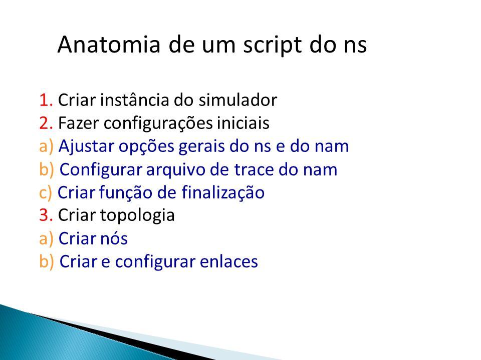 Anatomia de um script do ns 1. Criar instância do simulador 2.