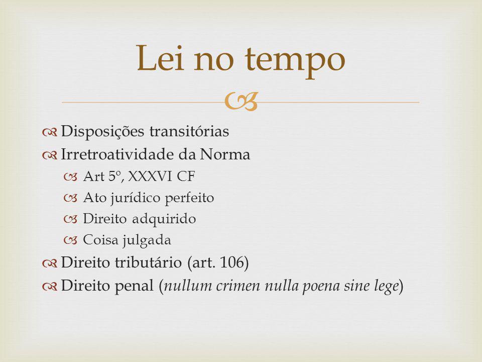 Disposições transitórias Irretroatividade da Norma Art 5º, XXXVI CF Ato jurídico perfeito Direito adquirido Coisa julgada Direito tributário (art.