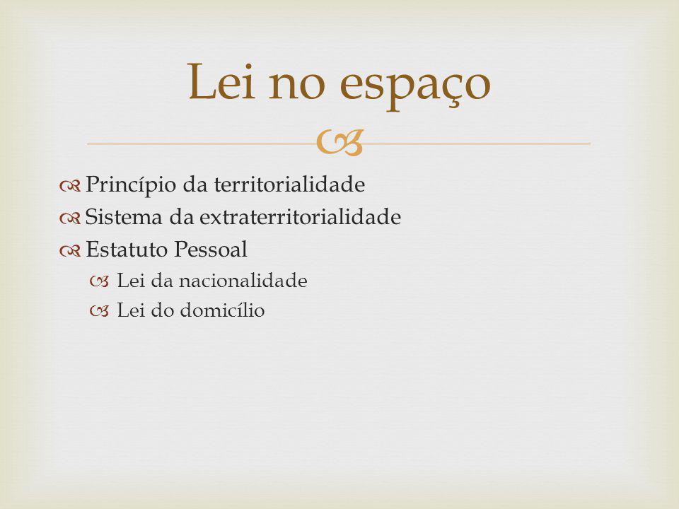 Princípio da territorialidade Sistema da extraterritorialidade Estatuto Pessoal Lei da nacionalidade Lei do domicílio Lei no espaço