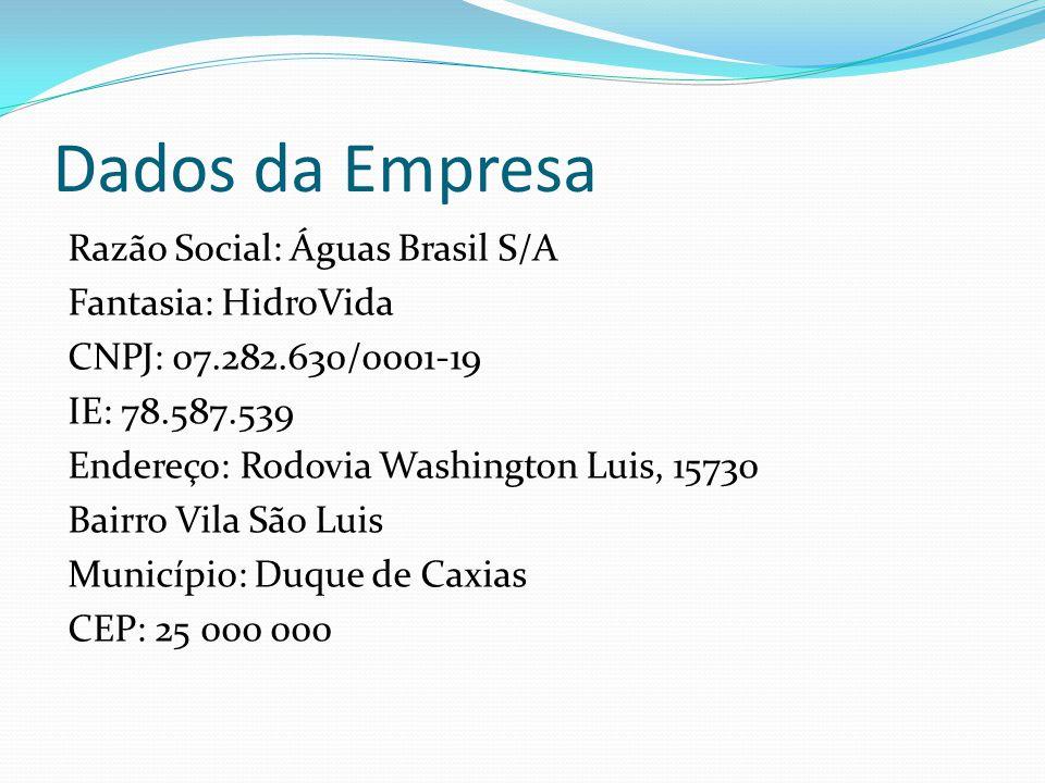 Dados da Empresa Razão Social: Águas Brasil S/A Fantasia: HidroVida CNPJ: 07.282.630/0001-19 IE: 78.587.539 Endereço: Rodovia Washington Luis, 15730 B