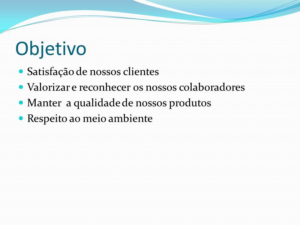 Objetivo Satisfação de nossos clientes Valorizar e reconhecer os nossos colaboradores Manter a qualidade de nossos produtos Respeito ao meio ambiente