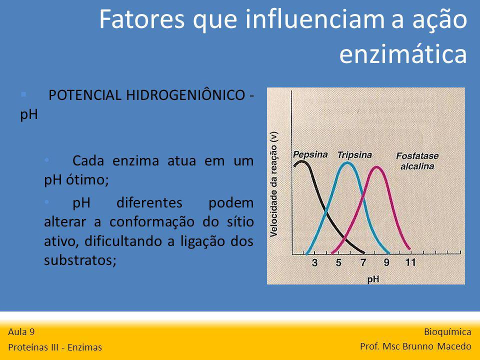Fatores que influenciam a ação enzimática Bioquímica Prof. Msc Brunno Macedo Aula 9 Proteínas III - Enzimas POTENCIAL HIDROGENIÔNICO - pH Cada enzima