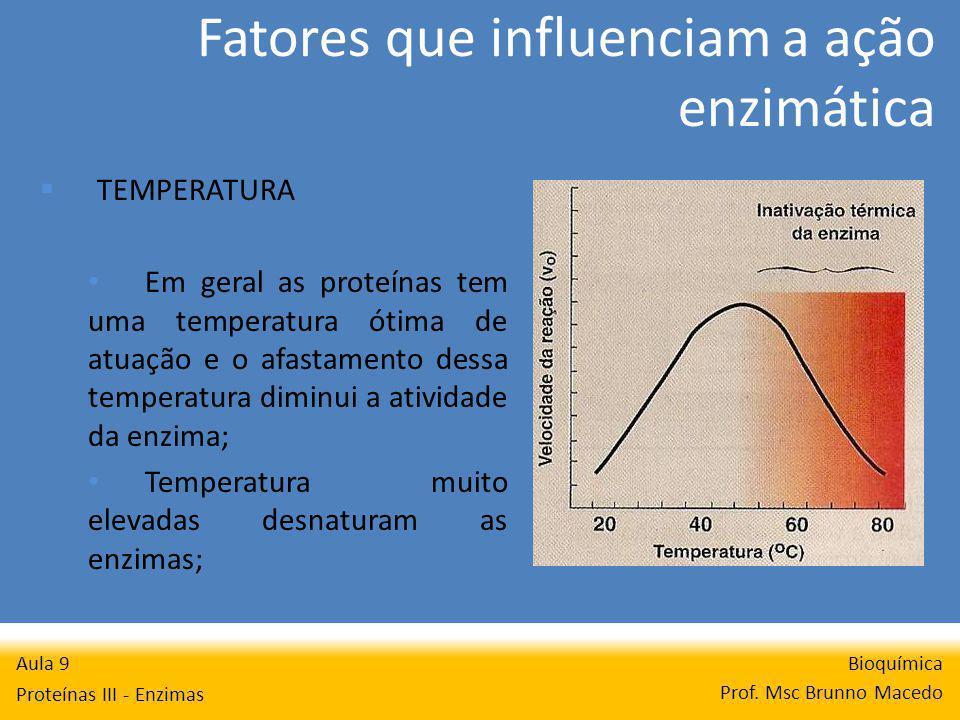 Fatores que influenciam a ação enzimática Bioquímica Prof. Msc Brunno Macedo Aula 9 Proteínas III - Enzimas TEMPERATURA Em geral as proteínas tem uma