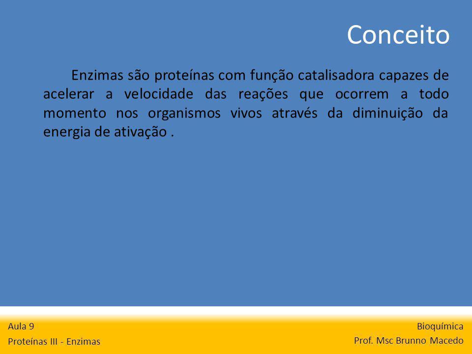 Conceito Bioquímica Prof. Msc Brunno Macedo Aula 9 Proteínas III - Enzimas Enzimas são proteínas com função catalisadora capazes de acelerar a velocid