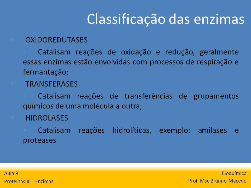 Classificação das enzimas Bioquímica Prof. Msc Brunno Macedo Aula 9 Proteínas III - Enzimas OXIDOREDUTASES Catalisam reações de oxidação e redução, ge