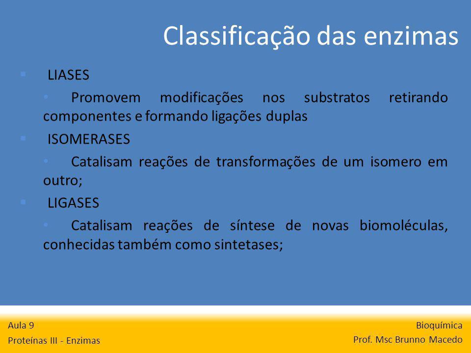 Classificação das enzimas Bioquímica Prof.