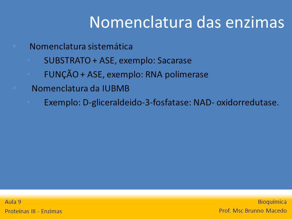 Nomenclatura das enzimas Bioquímica Prof. Msc Brunno Macedo Aula 9 Proteínas III - Enzimas Nomenclatura sistemática SUBSTRATO + ASE, exemplo: Sacarase