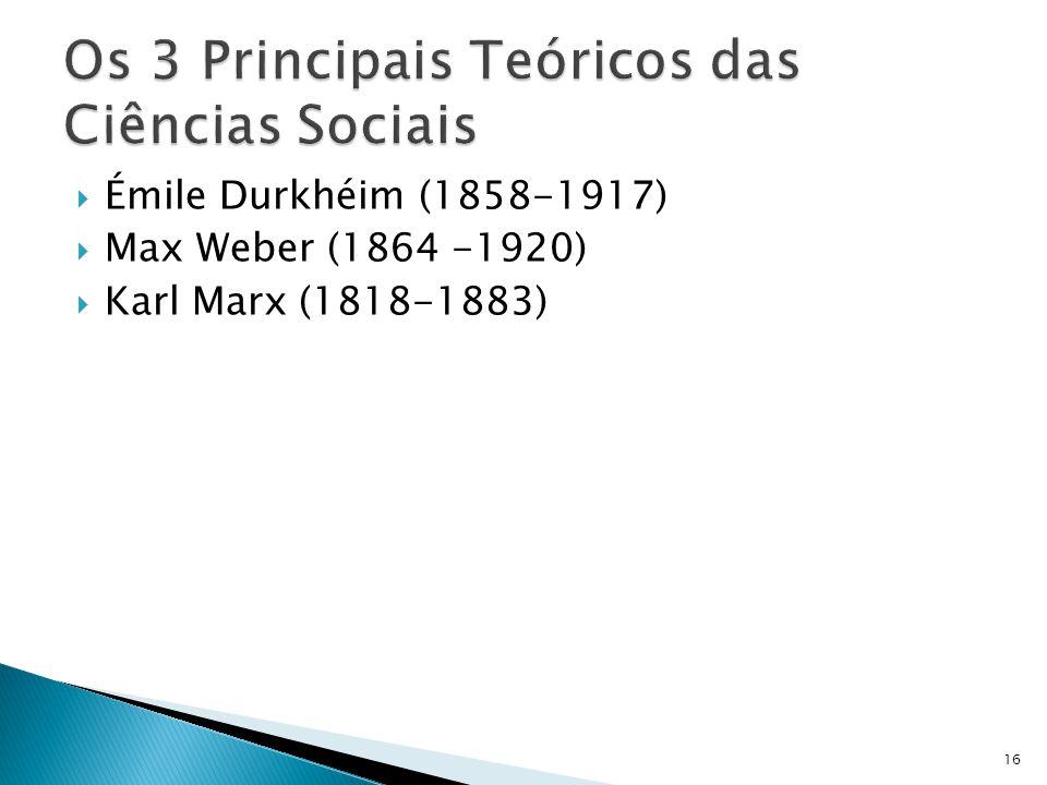 Émile Durkhéim (1858-1917) Max Weber (1864 -1920) Karl Marx (1818-1883) 16