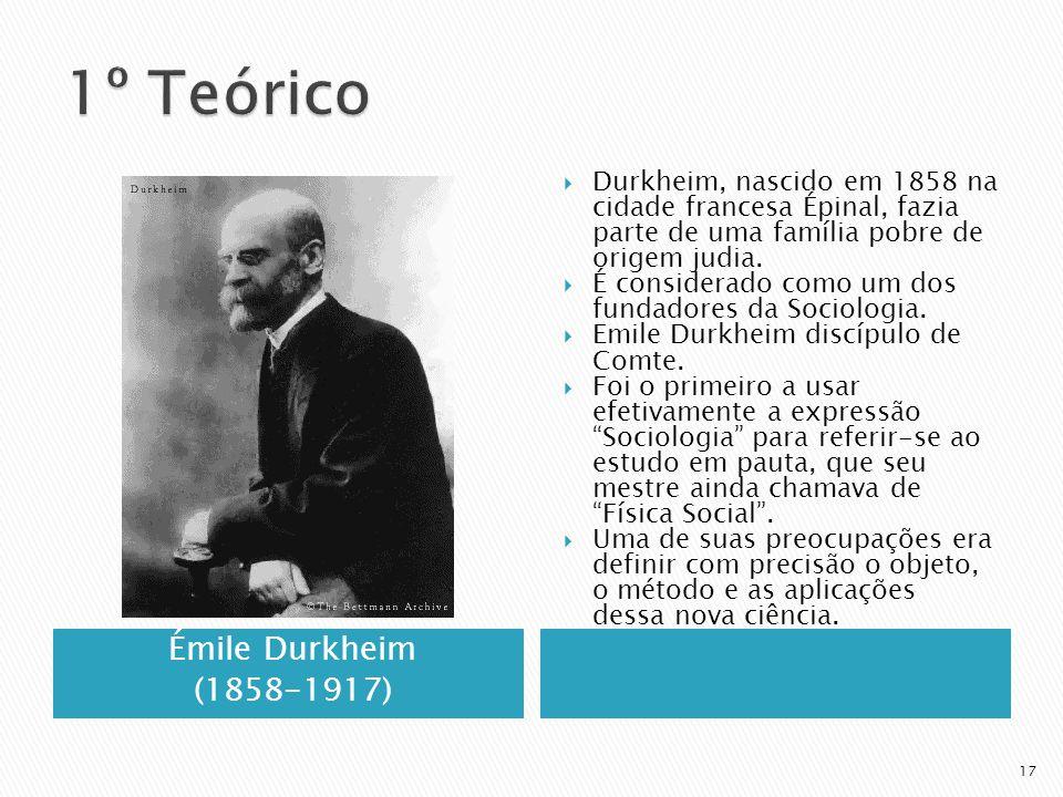 Émile Durkheim (1858-1917) Durkheim, nascido em 1858 na cidade francesa Épinal, fazia parte de uma família pobre de origem judia.