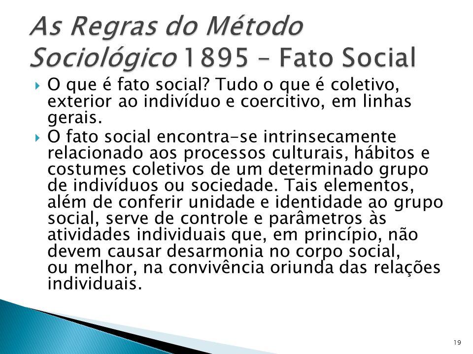 O que é fato social? Tudo o que é coletivo, exterior ao indivíduo e coercitivo, em linhas gerais. O fato social encontra-se intrinsecamente relacionad