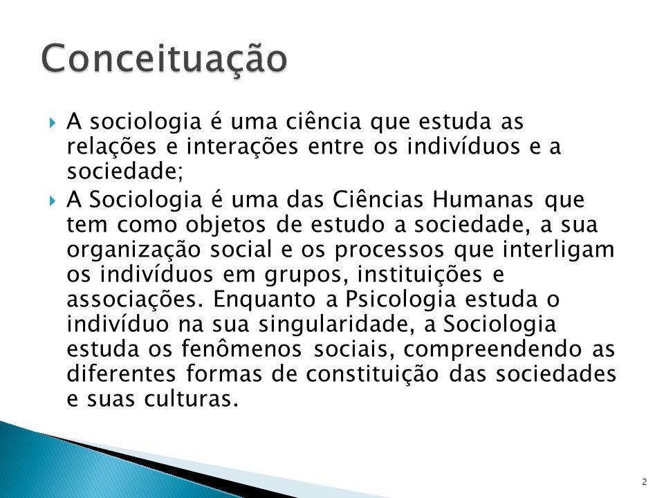 A sociologia é uma ciência que estuda as relações e interações entre os indivíduos e a sociedade; A Sociologia é uma das Ciências Humanas que tem como objetos de estudo a sociedade, a sua organização social e os processos que interligam os indivíduos em grupos, instituições e associações.
