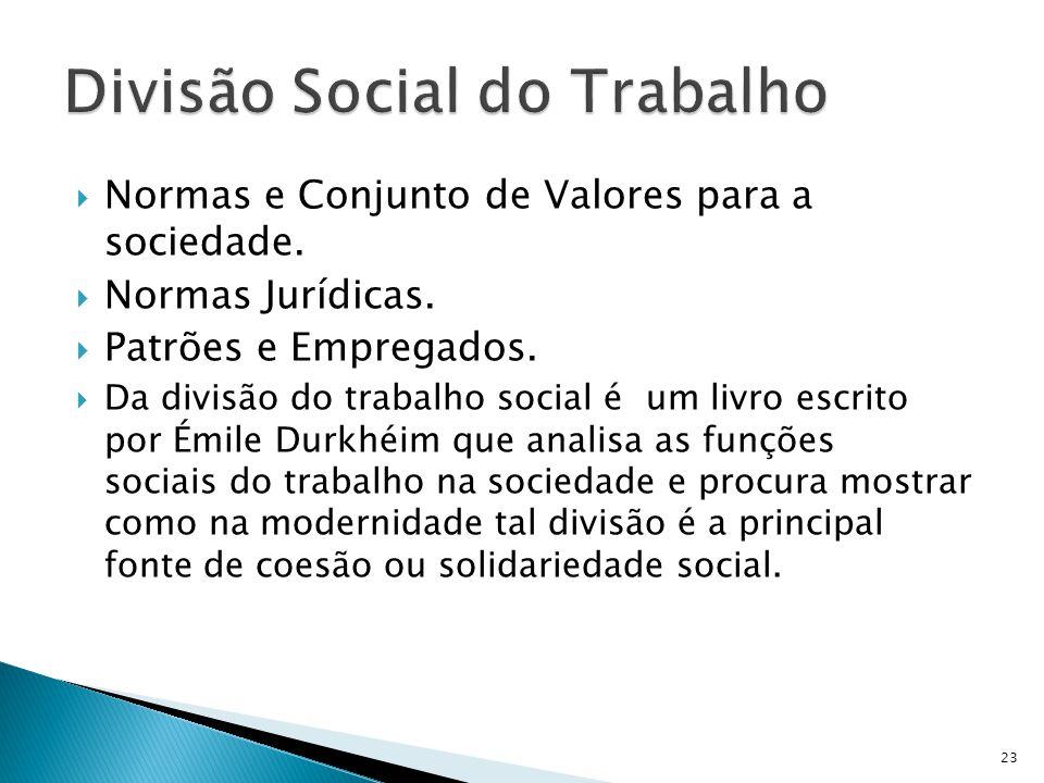 Normas e Conjunto de Valores para a sociedade. Normas Jurídicas. Patrões e Empregados. Da divisão do trabalho social é um livro escrito por Émile Durk