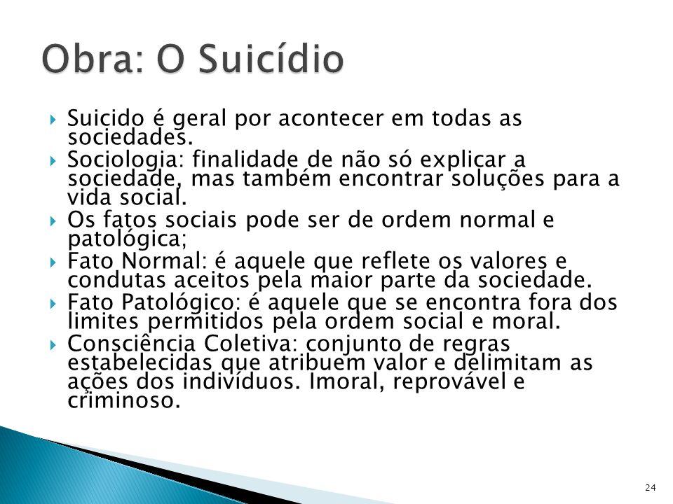 Suicido é geral por acontecer em todas as sociedades. Sociologia: finalidade de não só explicar a sociedade, mas também encontrar soluções para a vida