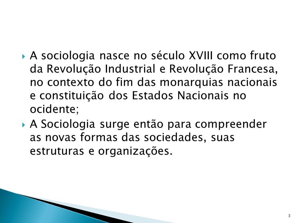 A sociologia nasce no século XVIII como fruto da Revolução Industrial e Revolução Francesa, no contexto do fim das monarquias nacionais e constituição