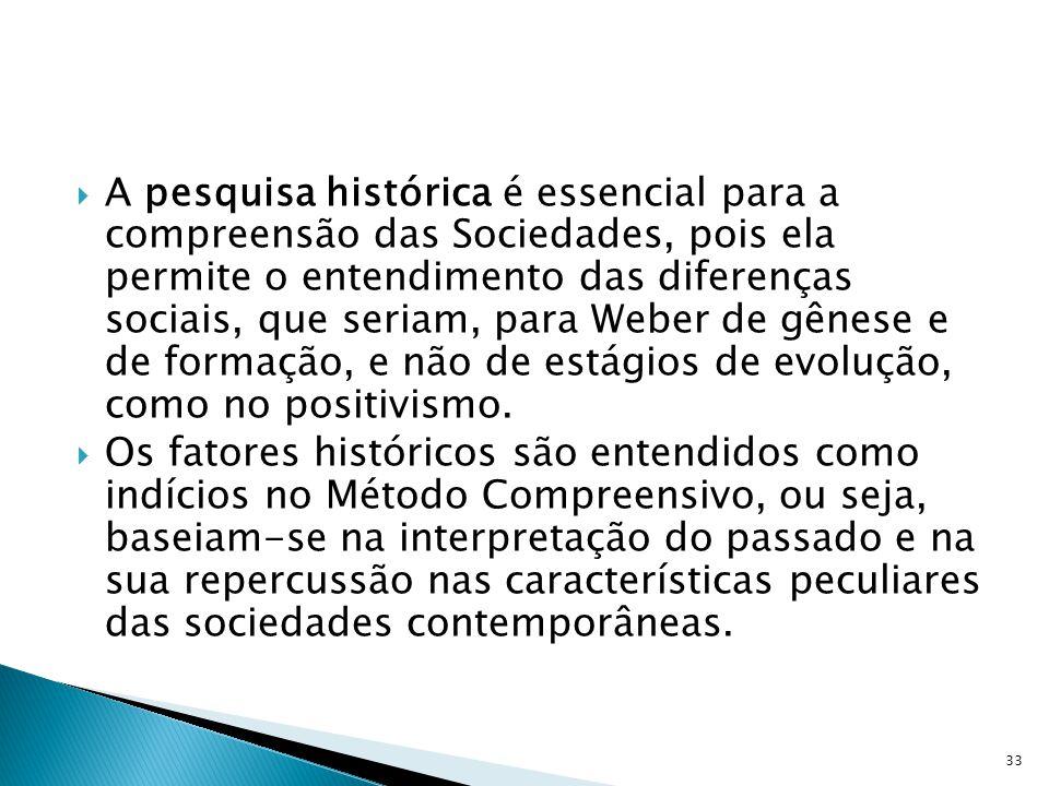 A pesquisa histórica é essencial para a compreensão das Sociedades, pois ela permite o entendimento das diferenças sociais, que seriam, para Weber de