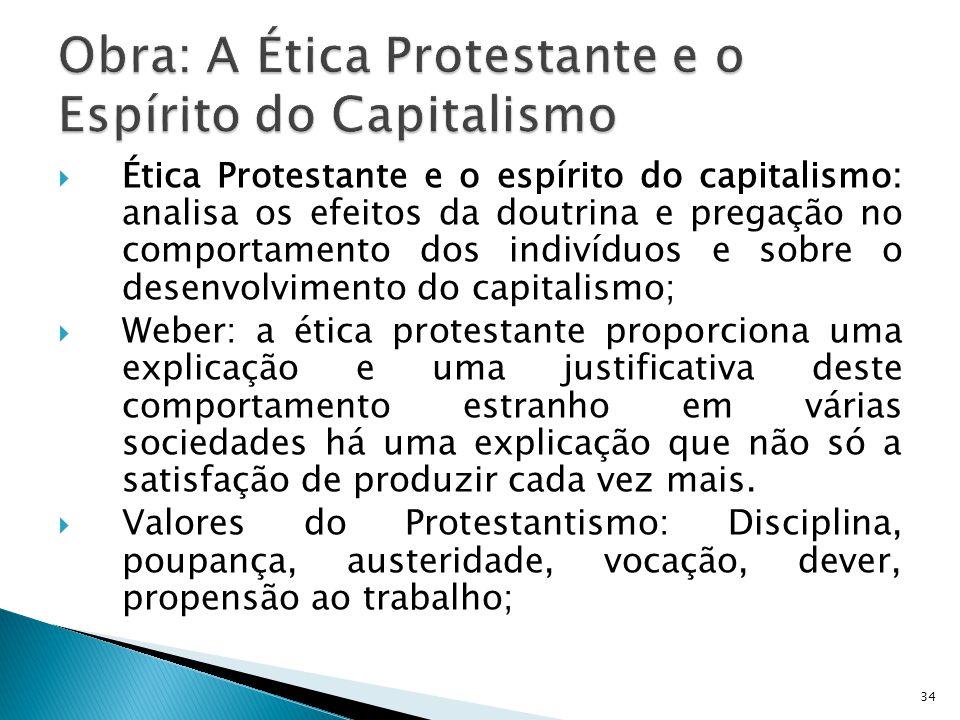 Ética Protestante e o espírito do capitalismo: analisa os efeitos da doutrina e pregação no comportamento dos indivíduos e sobre o desenvolvimento do