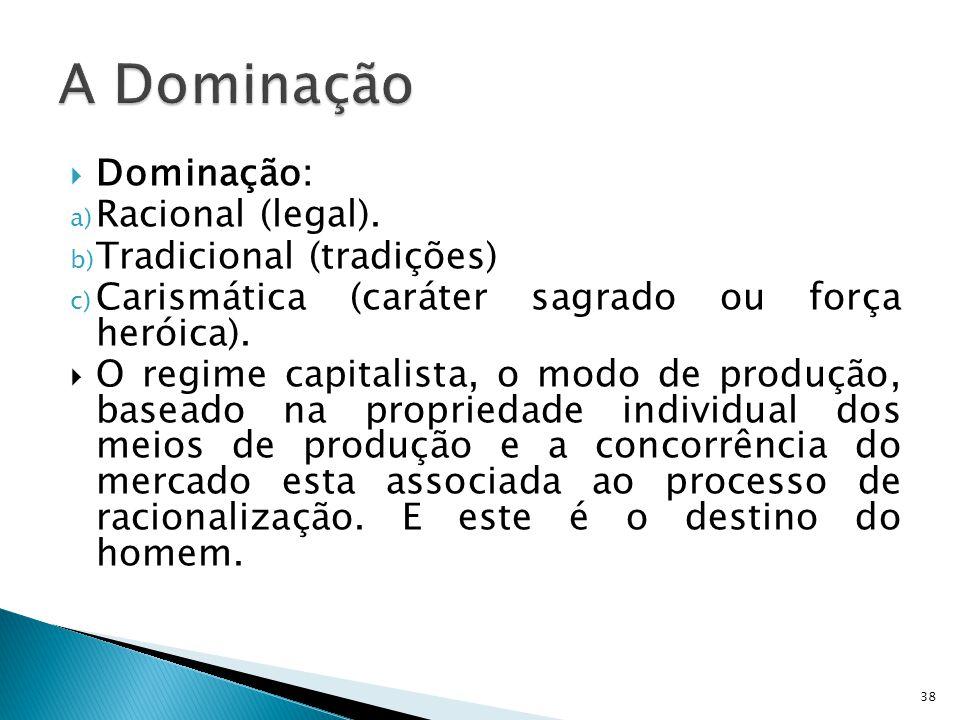 Dominação: a) Racional (legal). b) Tradicional (tradições) c) Carismática (caráter sagrado ou força heróica). O regime capitalista, o modo de produção