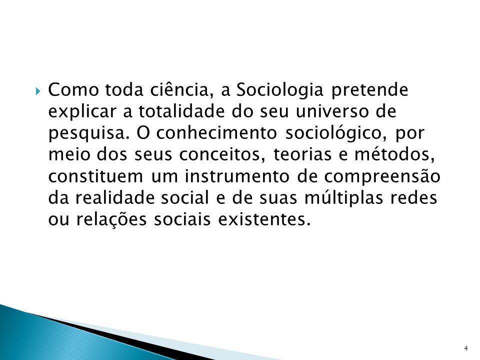 Como toda ciência, a Sociologia pretende explicar a totalidade do seu universo de pesquisa. O conhecimento sociológico, por meio dos seus conceitos, t