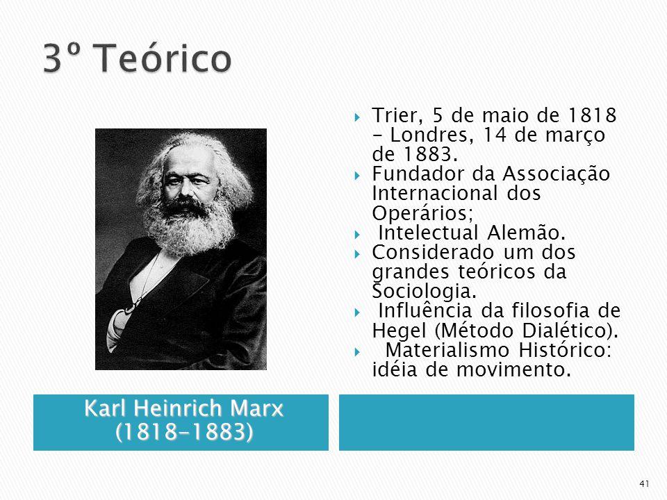Karl HeinrichMarx (1818-1883) Karl Heinrich Marx (1818-1883) Trier, 5 de maio de 1818 - Londres, 14 de março de 1883. Fundador da Associação Internaci