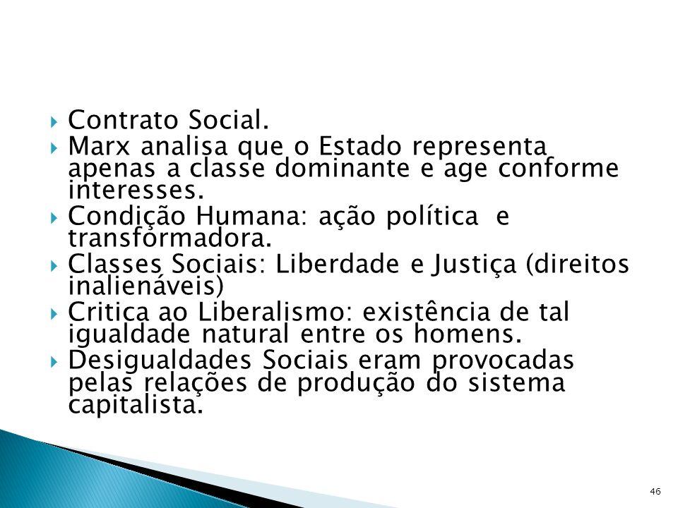 Contrato Social. Marx analisa que o Estado representa apenas a classe dominante e age conforme interesses. Condição Humana: ação política e transforma