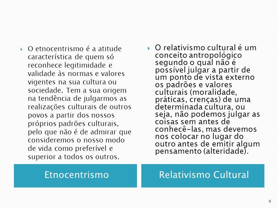 EtnocentrismoRelativismo Cultural O etnocentrismo é a atitude característica de quem só reconhece legitimidade e validade às normas e valores vigentes na sua cultura ou sociedade.