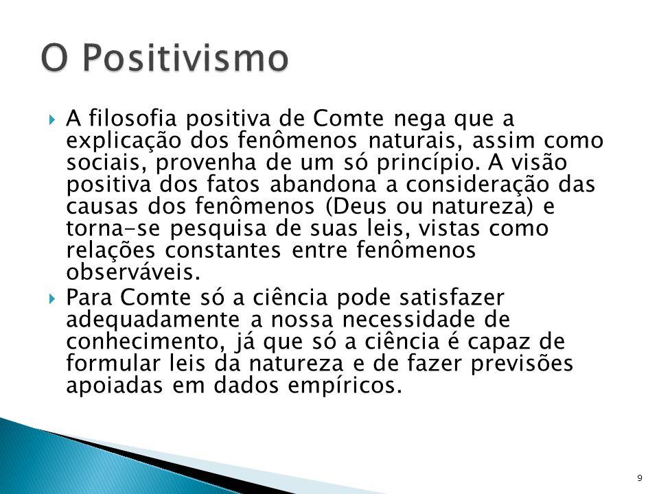 A filosofia positiva de Comte nega que a explicação dos fenômenos naturais, assim como sociais, provenha de um só princípio. A visão positiva dos fato