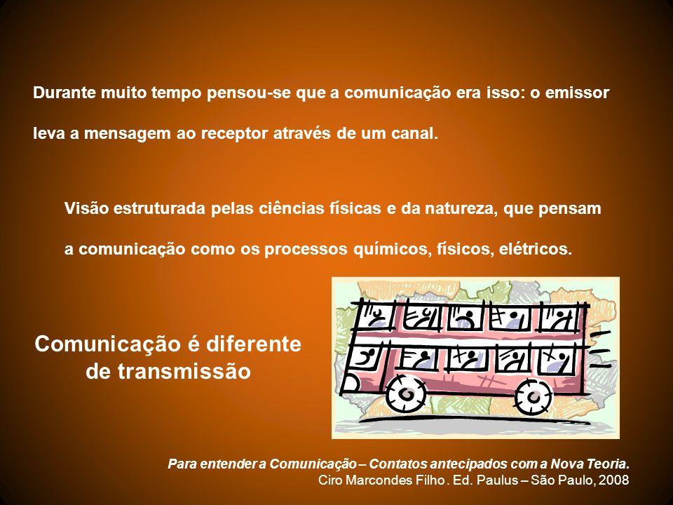 Durante muito tempo pensou-se que a comunicação era isso: o emissor leva a mensagem ao receptor através de um canal. Visão estruturada pelas ciências