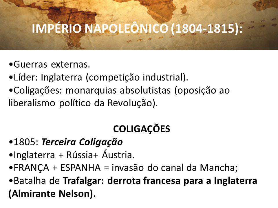 IMPÉRIO NAPOLEÔNICO (1804-1815): Guerras externas. Líder: Inglaterra (competição industrial). Coligações: monarquias absolutistas (oposição ao liberal