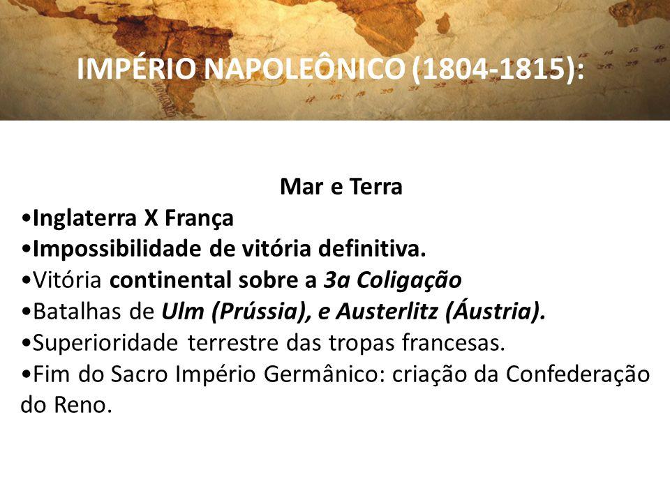 IMPÉRIO NAPOLEÔNICO (1804-1815): Mar e Terra Inglaterra X França Impossibilidade de vitória definitiva. Vitória continental sobre a 3a Coligação Batal