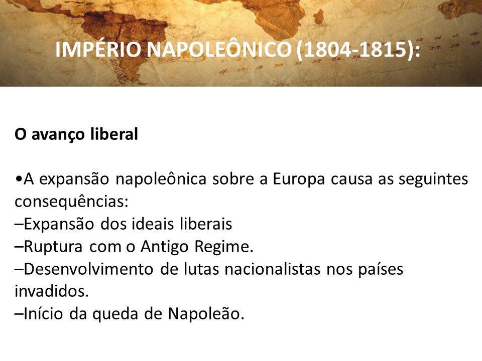 IMPÉRIO NAPOLEÔNICO (1804-1815): O avanço liberal A expansão napoleônica sobre a Europa causa as seguintes consequências: –Expansão dos ideais liberai