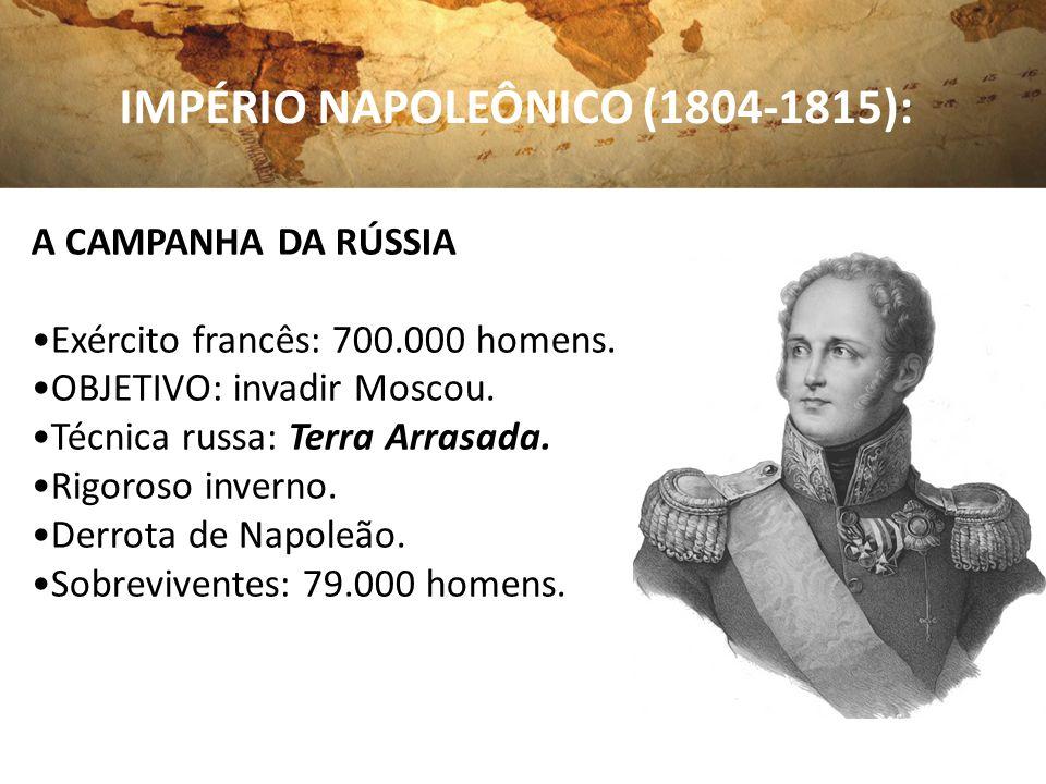IMPÉRIO NAPOLEÔNICO (1804-1815): A CAMPANHA DA RÚSSIA Exército francês: 700.000 homens. OBJETIVO: invadir Moscou. Técnica russa: Terra Arrasada. Rigor